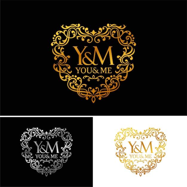 Modelo de logotipo de luxo dourado. projeto vintage logotipo ícone conceito amor em fundo escuro. Vetor Premium