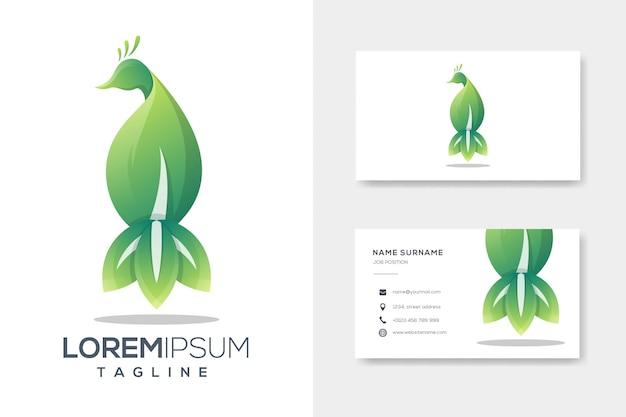 Modelo de logotipo de luxo verde folha pavão com cartão Vetor Premium