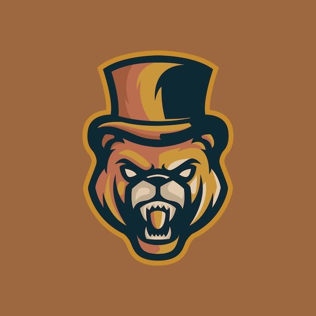 Modelo de logotipo de mafia de urso Vetor Premium