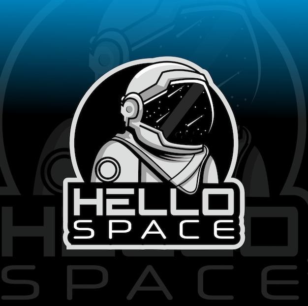 Modelo de logotipo de mascote de astronauta Vetor Premium