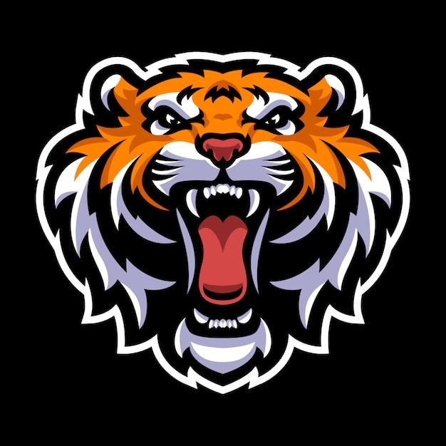 Modelo de logotipo de mascote de cabeça de tigre Vetor Premium