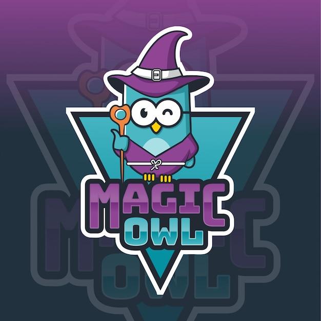 Modelo de logotipo de mascote de coruja mágica Vetor Premium