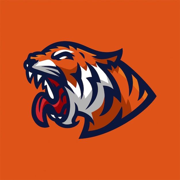 Modelo de logotipo de mascote de jogos de esport tigre Vetor Premium