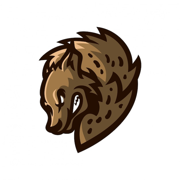 Modelo de logotipo de mascote de jogos hiena esport Vetor Premium