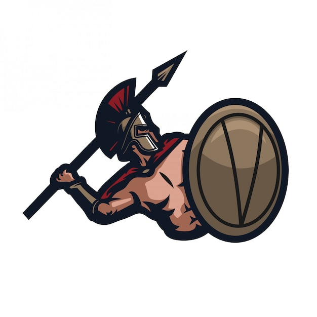 Modelo de logotipo de mascote de jogos sparta esport Vetor Premium