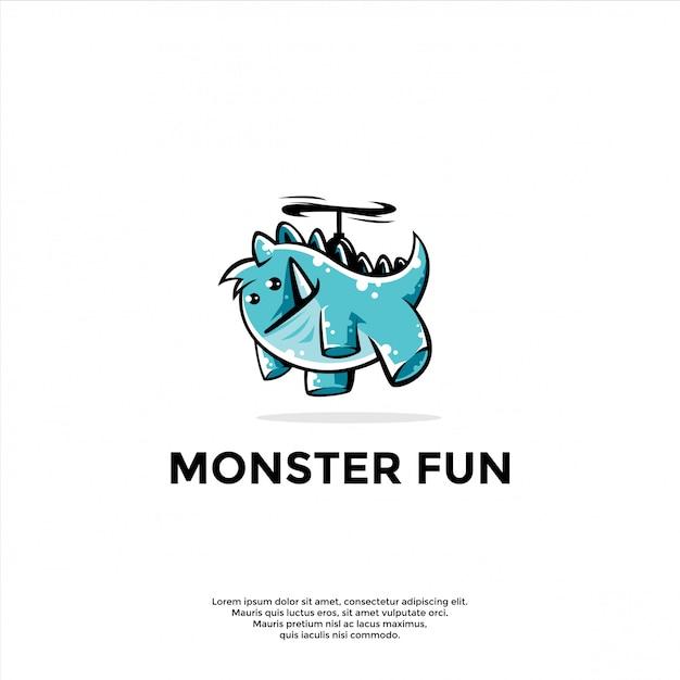 Modelo de logotipo de mascote monstro brincalhão Vetor Premium