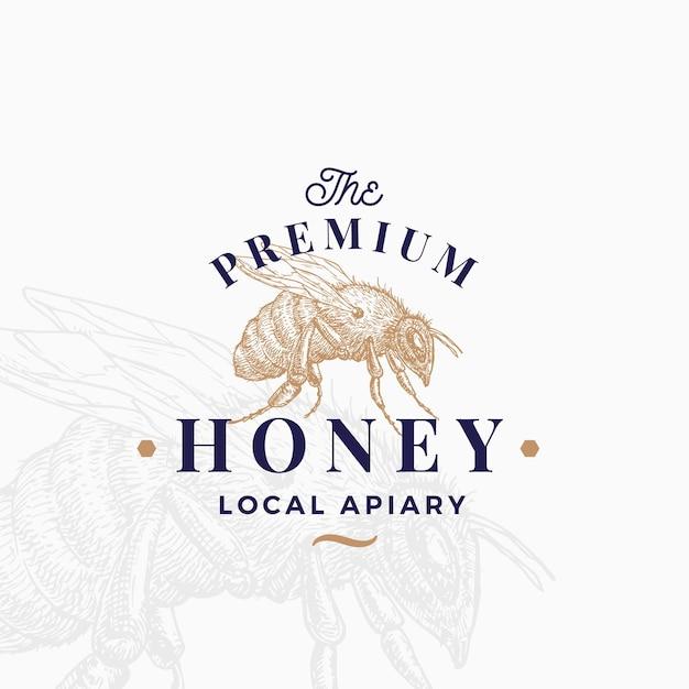 Modelo de logotipo de mel de qualidade premium. Vetor Premium