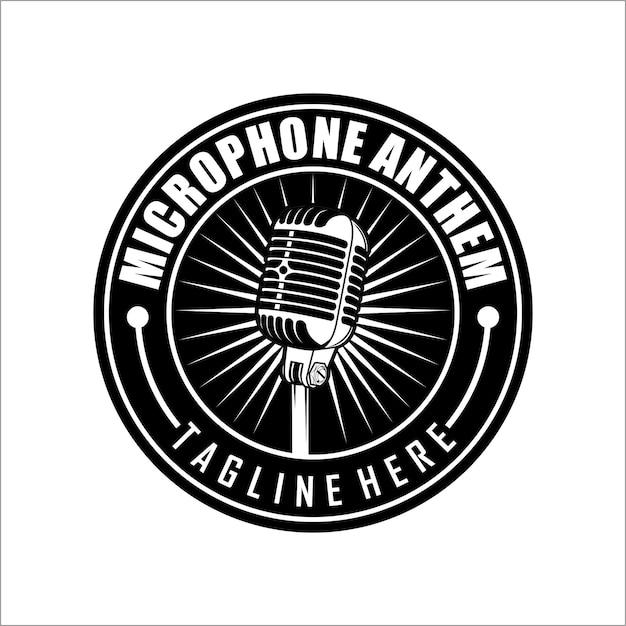 Modelo de logotipo de microfone Vetor Premium