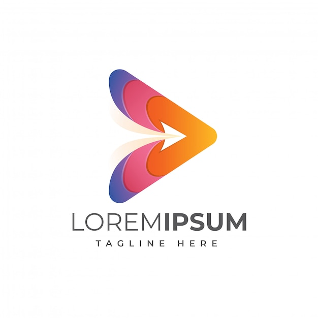 Modelo de logotipo de mídia voa Vetor Premium
