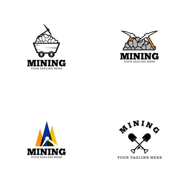 Modelo de logotipo de mineração Vetor Premium