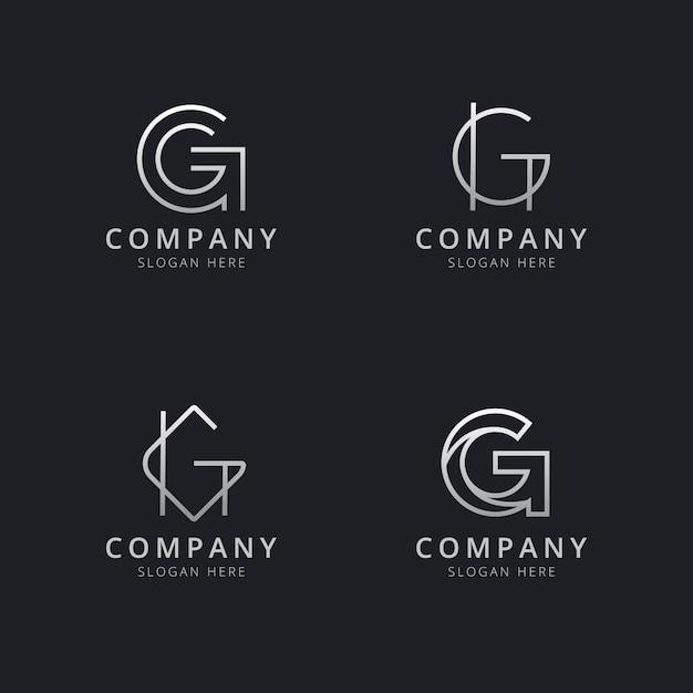 Modelo de logotipo de monograma de linha g iniciais com cor prata estilo para a empresa Vetor Premium