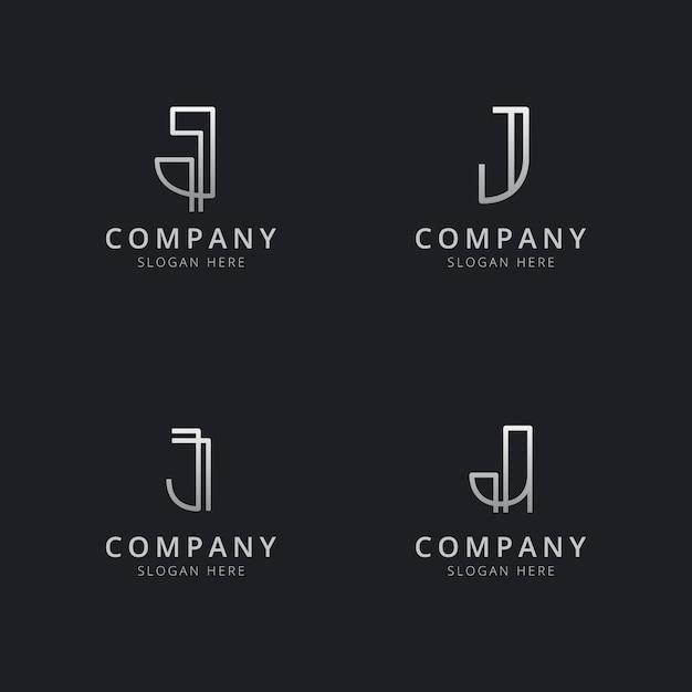 Modelo de logotipo de monograma de linha j iniciais com cor prata estilo para a empresa Vetor Premium