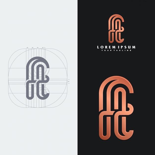Modelo de logotipo de monograma ft Vetor Premium