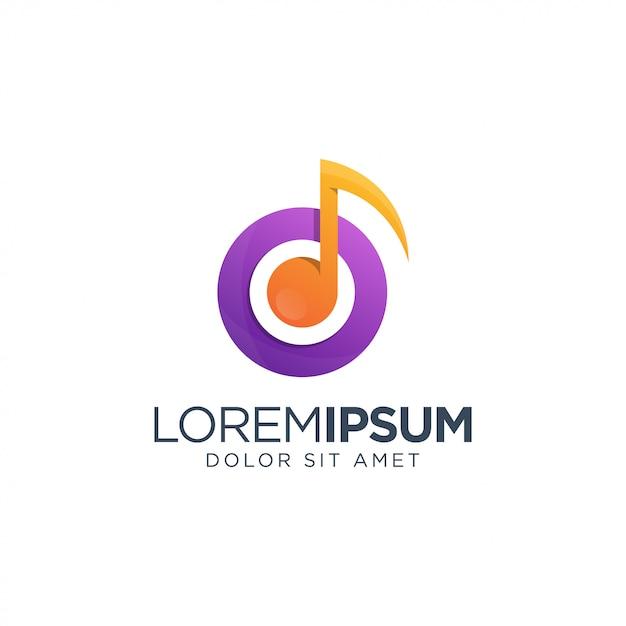 Modelo de logotipo de música Vetor Premium
