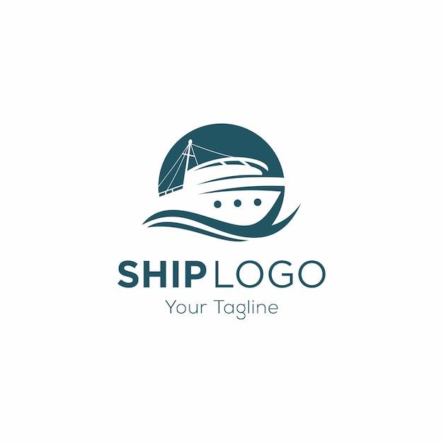 Modelo de logotipo de navio de cruzeiro Vetor Premium