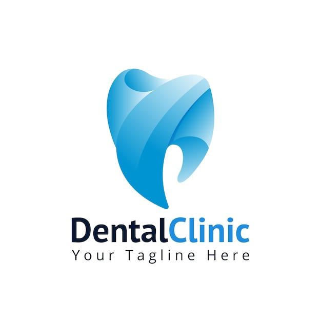Modelo de logotipo de odontologia clínica dentária Vetor Premium