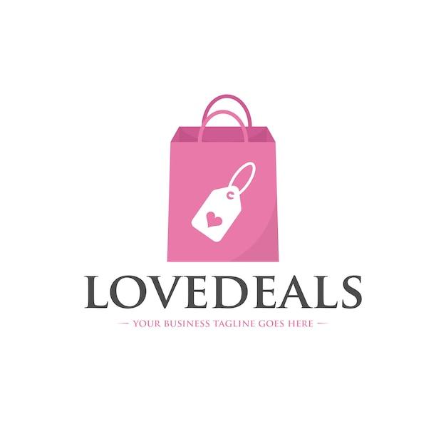 Modelo de logotipo de ofertas de amor Vetor Premium