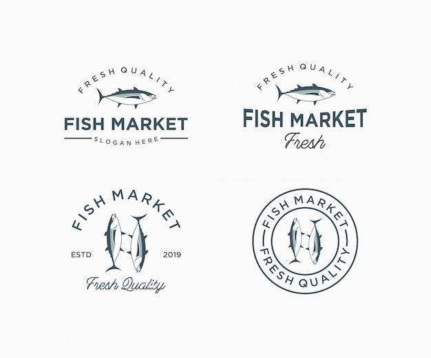 Modelo de logotipo de peixe para o mercado de peixe. ícone do restaurante de frutos do mar Vetor Premium