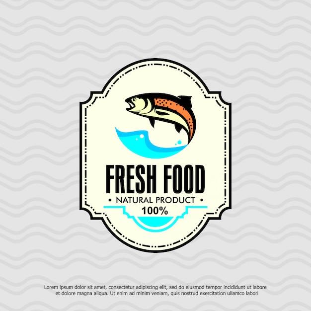 Modelo de logotipo de peixe, produto natural de alimentos frescos Vetor Premium