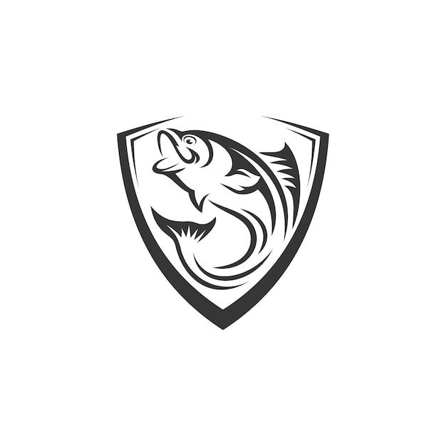 Modelo de logotipo de peixe Vetor Premium