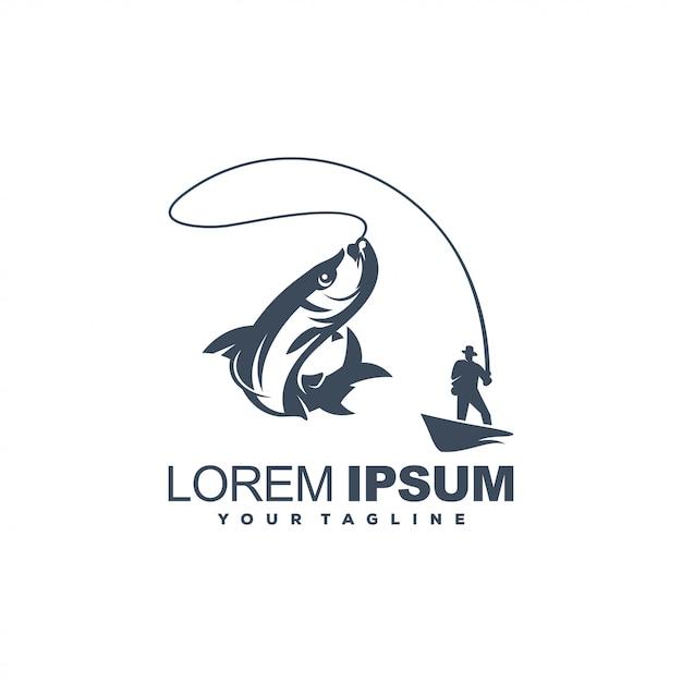 Modelo de logotipo de pesca Vetor Premium