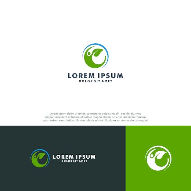 Modelo de logotipo de pessoas orgânicas Vetor Premium