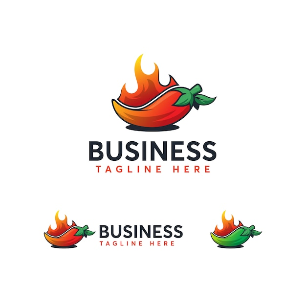 Modelo de logotipo de pimentão Vetor Premium