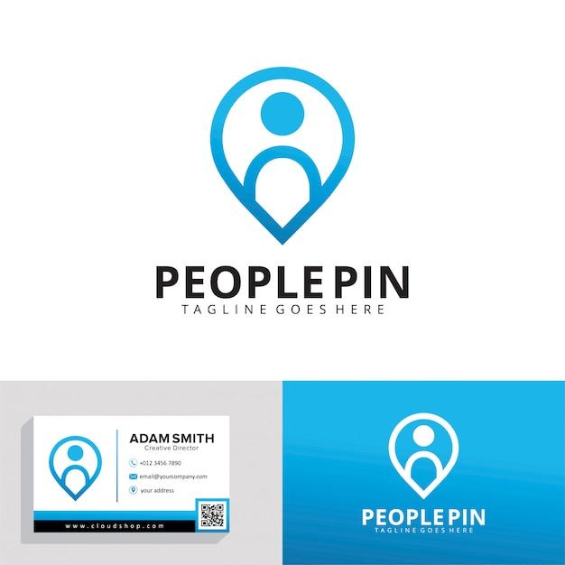 Modelo de logotipo de pin de pessoas Vetor Premium