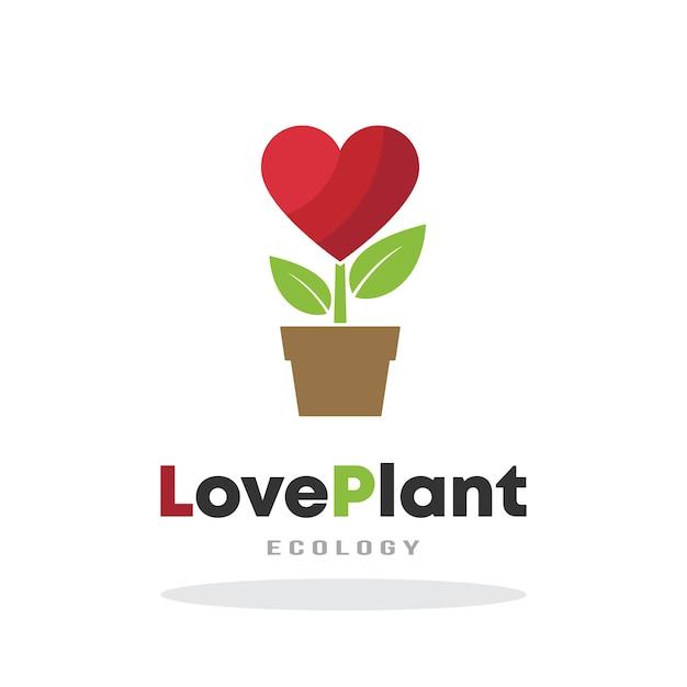Modelo de logotipo de planta de amor Vetor Premium