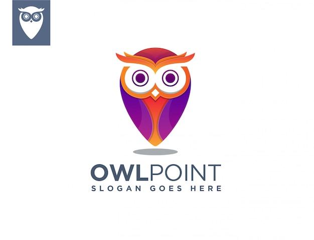 Modelo de logotipo de ponto de mapa de coruja Vetor Premium