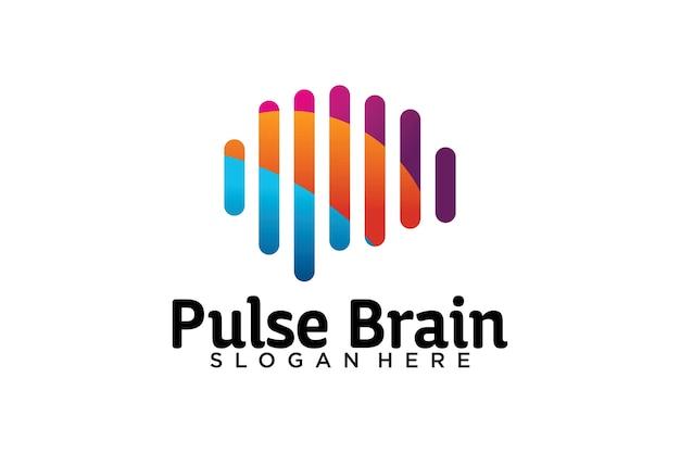 Modelo de logotipo de pulso de cérebro Vetor Premium
