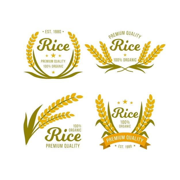 Modelo de logotipo de qualidade premium de arroz Vetor Premium
