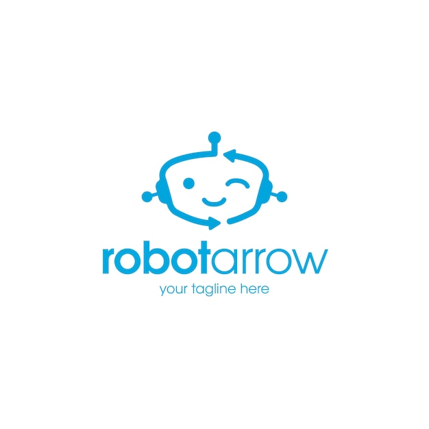 Modelo de logotipo de robô feliz Vetor Premium