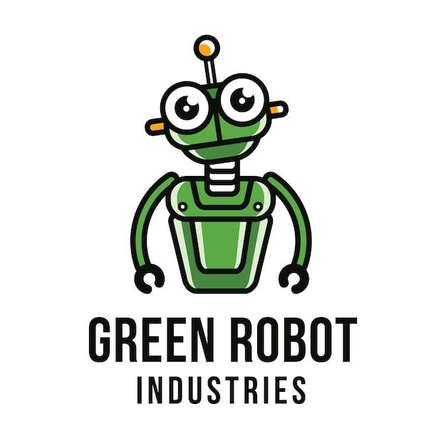 Modelo de logotipo de robô verde Vetor Premium