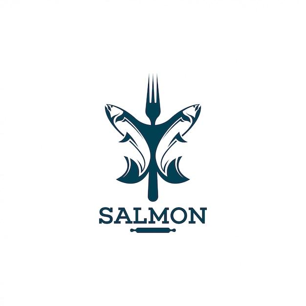 Modelo de logotipo de salmão. Vetor Premium