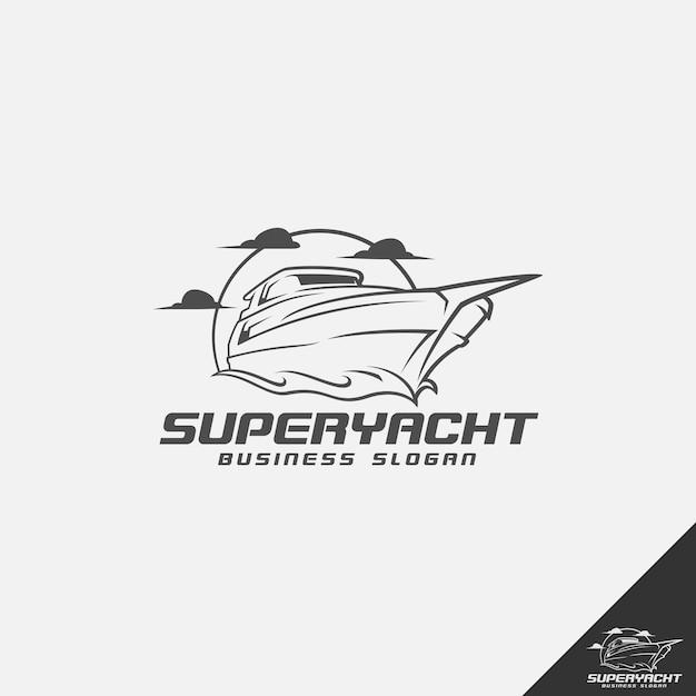 Modelo de logotipo de super iate Vetor Premium