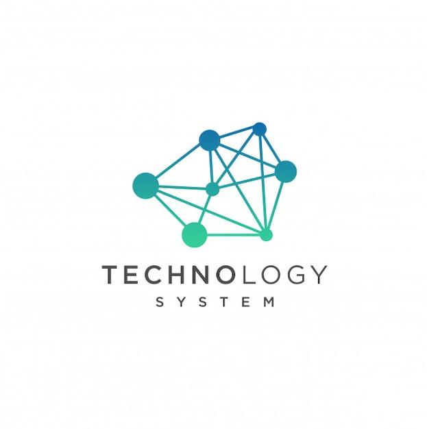 Modelo de logotipo de tecnologia abstrata. ilustração de conceito de tecnologia de internet de rede Vetor Premium