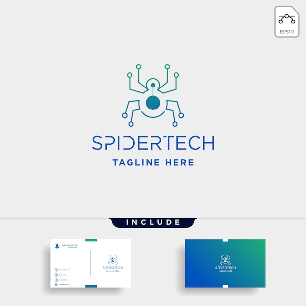 Modelo de logotipo de tecnologia aranha Vetor Premium