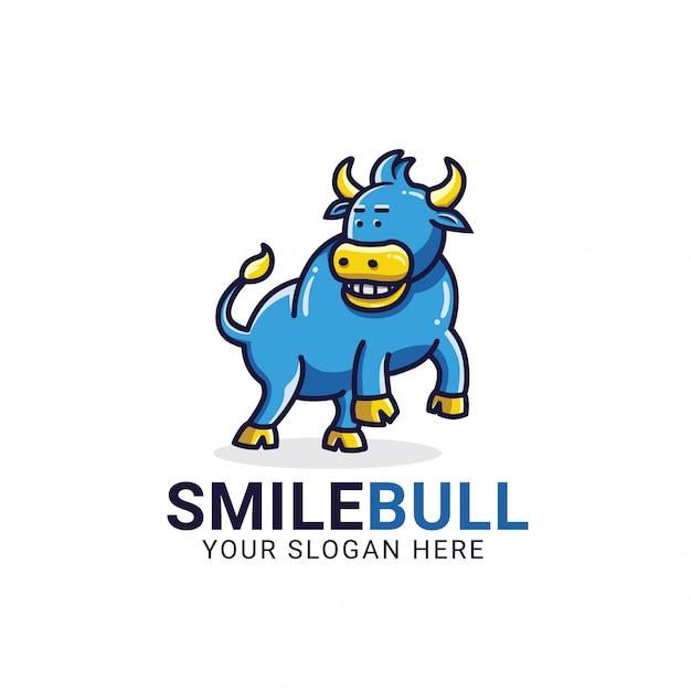 Modelo de logotipo de touro de sorriso Vetor Premium
