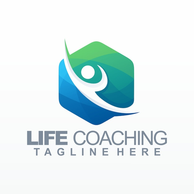 Modelo de logotipo de treinamento de vida Vetor Premium