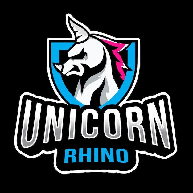 Modelo de logotipo de unicórnio rinoceronte Vetor Premium