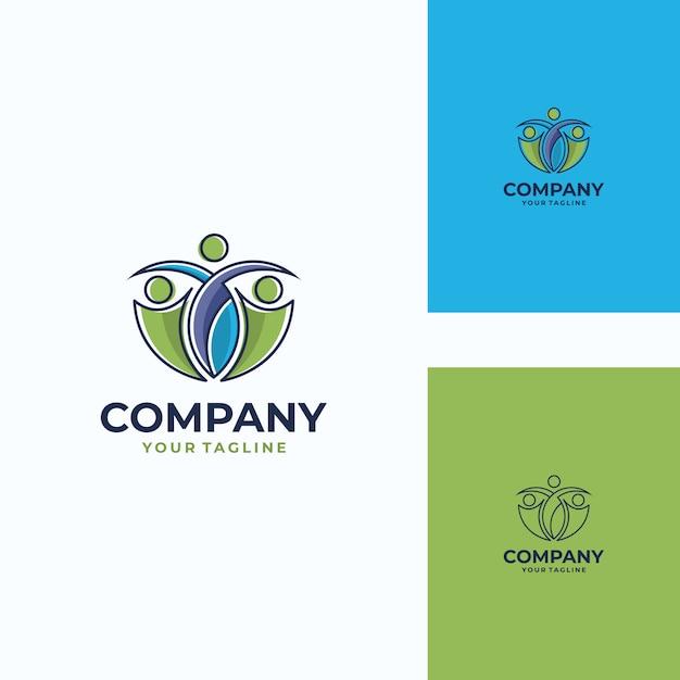 Modelo de logotipo de vetor humano agradável Vetor Premium
