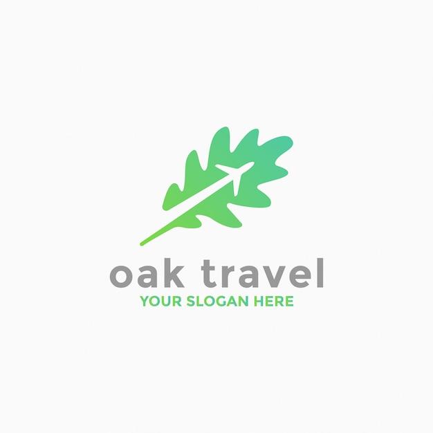Modelo de logotipo de viagem de carvalho Vetor Premium