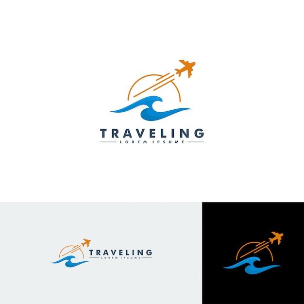 Modelo de logotipo de viagem Vetor Premium