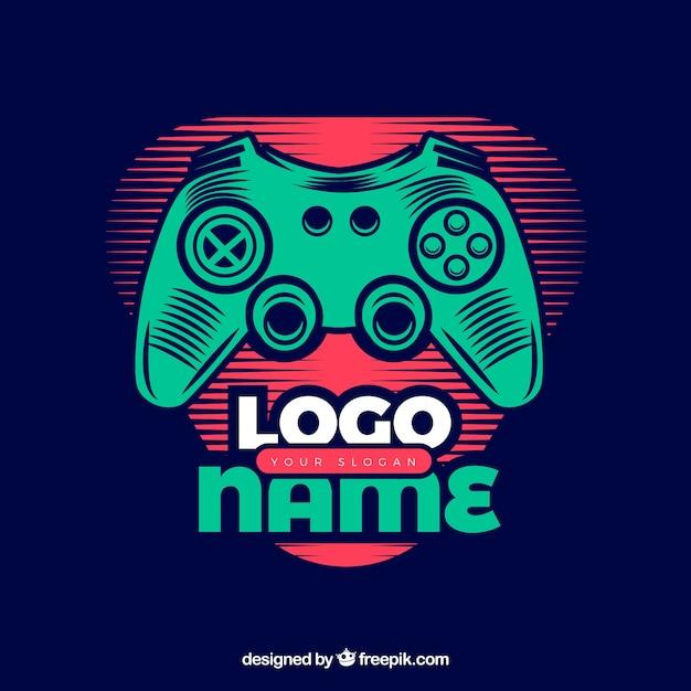 Modelo de logotipo de videogame com estilo retro Vetor grátis