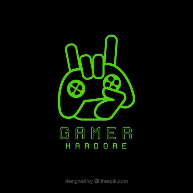 Modelo de logotipo de videogame com joystick Vetor grátis