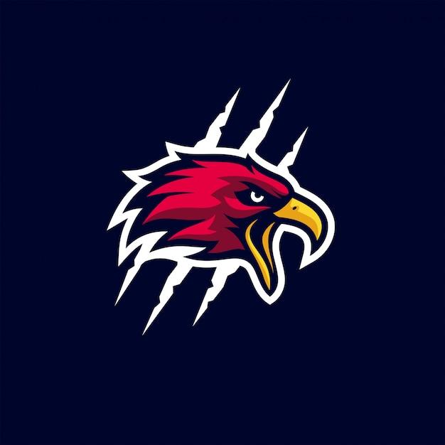 Modelo de logotipo desportivo bold (realce) de águia Vetor Premium