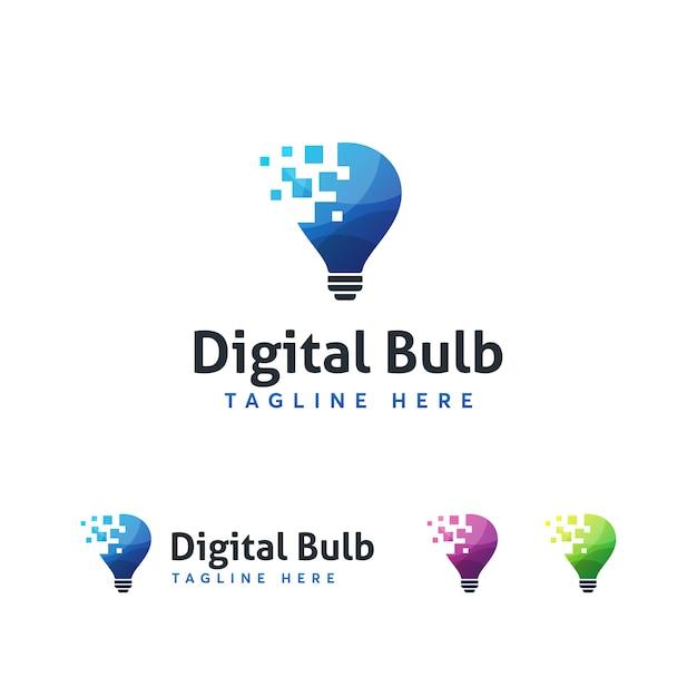 Modelo de logotipo digital bulub Vetor Premium