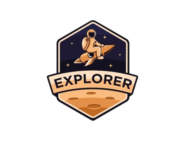 Modelo de logotipo do astronauta espaço explorador Vetor Premium
