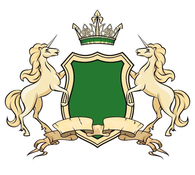Modelo de logotipo do brasão de armas. unicórnios com escudo e coroa. heráldico real, elemento insígnia, cavalo de logotipo ornamentado Vetor grátis